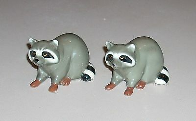 2 Mini Porcelain Raccoon Figurines with Brown Feet Hecho En Mexico