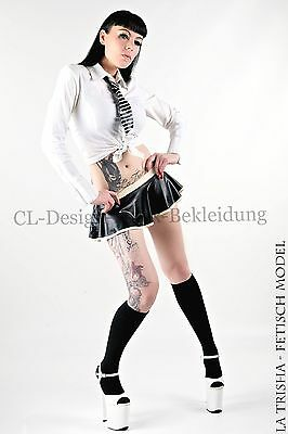 CL Design Latex Mini Rock, Rubber, Schwarz Weiß Schulmädchen Fetish Sexy Hot