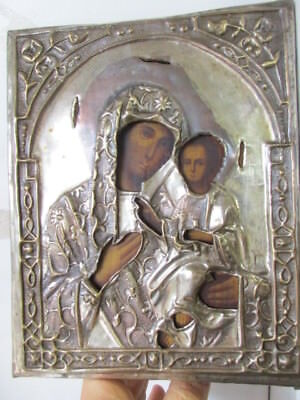 Antique icon 18-19 century, THE TIKHVIN MOTHER OF GOD. ICON. SALAR 100% original