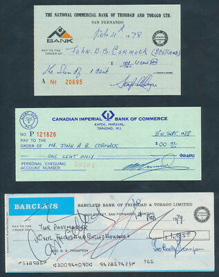 Trinidad & Tobago: 1970s COLLECTION of 3 different Cheques with DUTY STAMPS