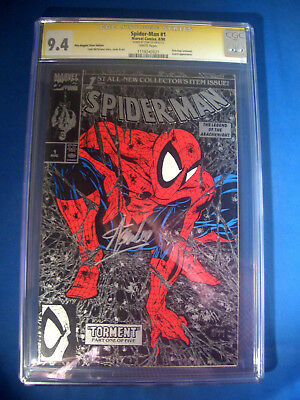 STAN LEE Signed 1990 * Spider-Man #1 SILVER Edition Marvel Comics CGC 9.4 NM SS