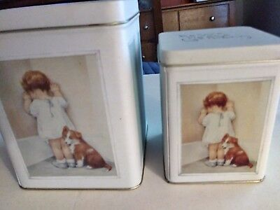 Bessie Pease Gutmann IN DISGRACE Child Dog Tin from 1986 Set of 2