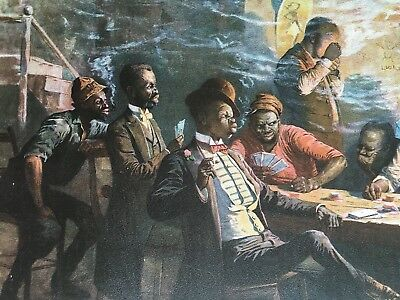 1895 African American Poker Game Lithograph A Raise In The South