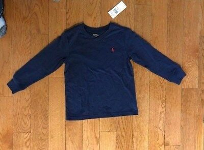 Polo Ralph Lauren Boy's V-Neck L/S T-Shirt Navy/Red Trim Size 5 NWT FAST SHIP