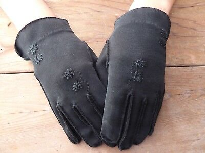 Vintage Ladies Womens Black Cotton Gloves Flower Detail by Shalimar - Size 6-1/2