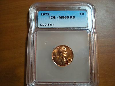 1972 DDO Double Die Obverse Lincoln Memorial Cent ICG MS65 RD Red Unc
