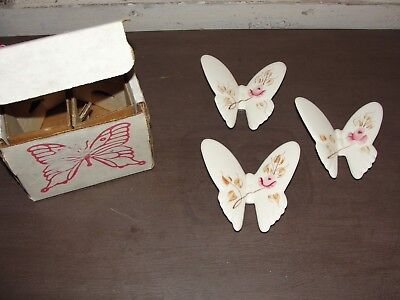 3 NIB Homco Home Interior Ceramic Butterflies Butterfly, Pink/Gold on White NEW