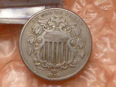 1866 with Rays Shield Nickel - First Year of Issue Die Clash Clear Details  #3B