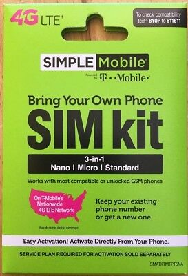 PRELOADED Simple Mobile SIM PREFUNDED $50 PLAN FREE 2ND MONTH $100 Worth