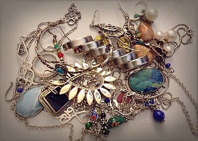 Lot Sterling Silver Jewelry .925 Some Scrap Most Wear 105g Turquoise Navajo