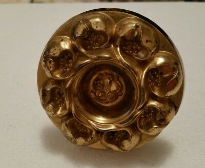 Large Antique decorative brass curtain tie back floral pattern  (180H)