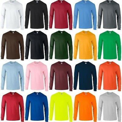 Gildan Heavy Cotton Long Sleeve T Shirt Men Blank Casual Plain Tee Sport 5400