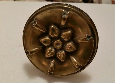 Large Antique decorative brass curtain tie back floral pattern  (181H)