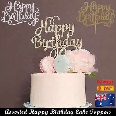 HAPPY BIRTHDAY CAKE TOPPER Gold Silver Glitter Party Cake Decorating DIY AUS