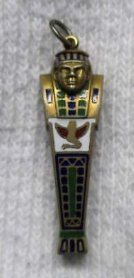 Antique 1920's Egyptian Revival Sarcophagus Enameled Chatelaine Perfume Pendant