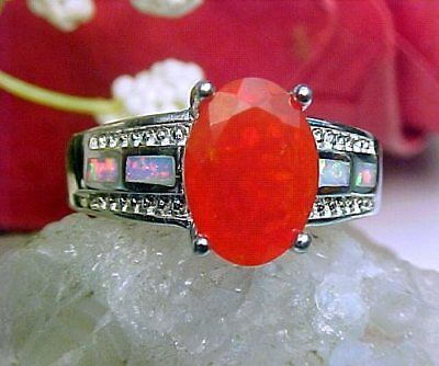 100% Natural Ethiopian Faceted Orange Opal 10x8mm & White Fire Opal Ring 925 SS