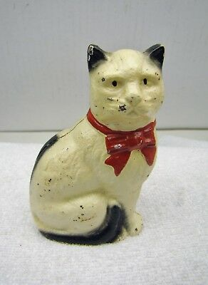 Cast Iron Black & White Cat, With Red Bow Bank