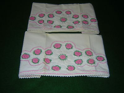 Pair Of Vintage Pillowcases Hand Crocheted Pink Floral