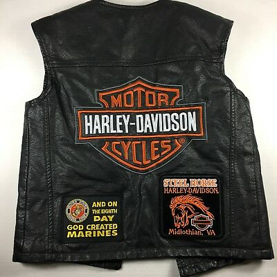 Harley Davidson Boys Youth Size M Leather Vest Marines Troops Don't Tread On Me