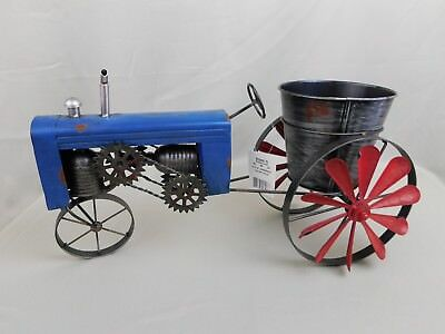 20-Inch Metal Antique-Style Blue Tractor Planter Holder w/ Spinning Wheels #C295