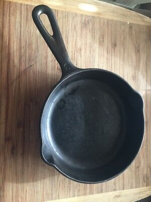 """Vintage MI-PET Western Foundry #3 Cast Iron Skillet 6-1/2"""" Camping Cooking Pan"""