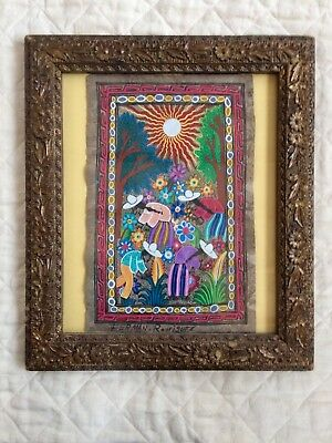 Mexican Folk Art - AMATE BARK PAINTING - Among the Flowers - Vintage Frame