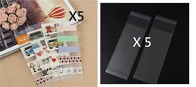 5PCS - WASHI TAPE SAMPLE SUPPLIES MATTE PLASTIC CARD - 5CM X 15CM + PVC Bag