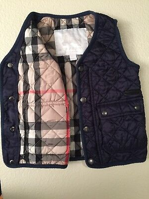 12M Kids Burberry Classic Navy Quilted Vest