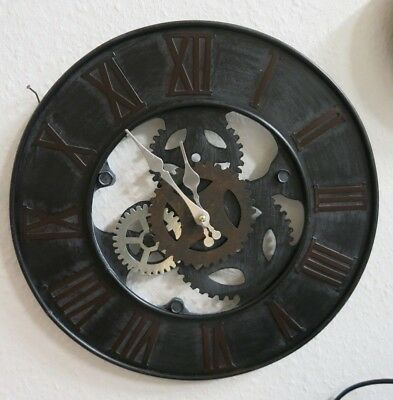 Wall Clock Gearwheel Design Metal Workshop Watch Decoration Round 39 cm