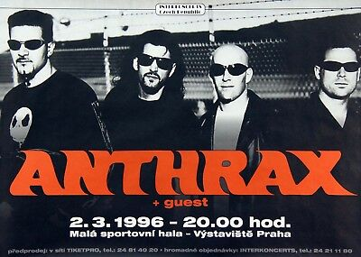 Anthrax 1996 Stomping Around The World Czech Republic Tour Concert Poster