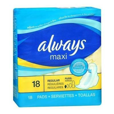 Always Maxi Pads with LeakGuard and Flexi-Wings Regular 18 (6 Packs)