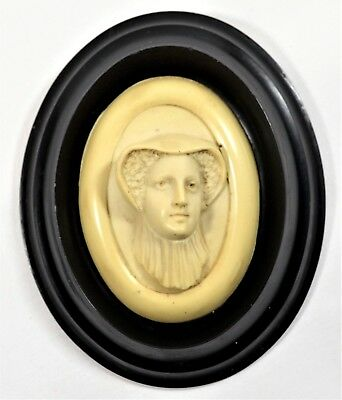 Rare Vintage Bakelite Relief Cameo Style Miniature Portrait Mary Queen Of Scots