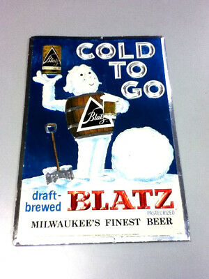 Blatz beer sign FOC foil on cardboard cold to go wall tacker barrel guy vintage