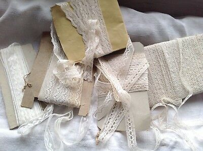 Antique Laces Job Lot Bobbin Valenciennes Trims 19C Vintage Wedding & Dolls 5pc