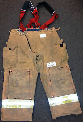 42x28 Pants Firefighter Turnout Bunker Fire Gear Morning Pride + Suspenders P787