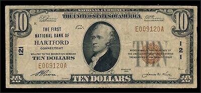 drbobcoins 1929 $10 National Bank Note FNB Hartford, Conn. (See Description)
