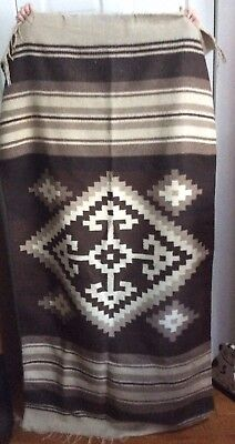 """Beautiful Vintage ZAPOTEC Mexican Indian Blanket 34""""X64"""" Woven Rug"""