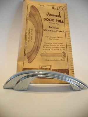 Vtg NOS 50's CHROME Cabinet Door Pulls Handles Stair Stepped Down Sides Art Deco