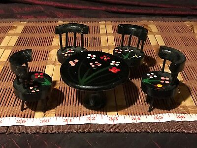 Vintage Miniature Wood Dollhouse Dining Room Set, Black Round Table w/ 4 Chairs