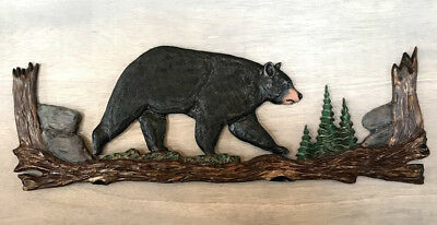 Hand Carved Chainsaw Carving Black Bear Rustic Wood Wall Folk Art Log Home