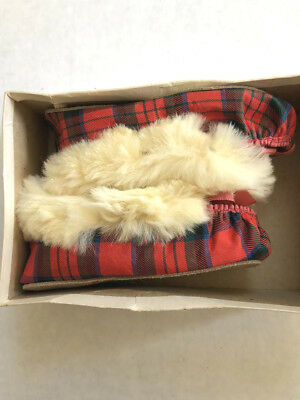 Kids Vtg 30s Scottish red plaid with fur slippers/ moccasins size 3 orig box