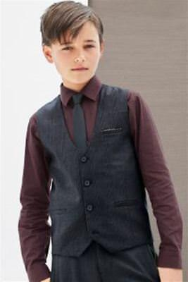BNWT NEXT Signature Boys Navy Check Maroon Waistcoat Shirt Tie Set