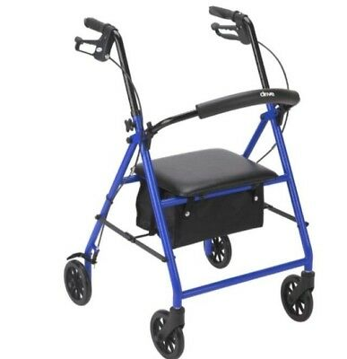 Drive Medical Rollator Folding Walker Adult 4 Wheels FGR800BL ~NEW~