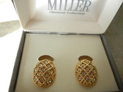Vintage Nolan Miller Glamour Collection Earrings Gold Tone Crystal Clip On