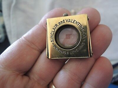 Antique Folding Brass Loupe 1890-1940 Sinclair & Valentine Co Printing Litho ink