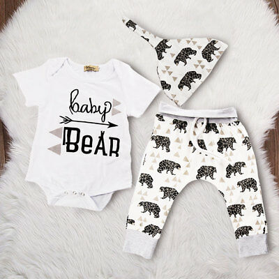 New Baby Boys Girls Bear Top T-shirt + Long Pants Clothes Outfits Set 0-24Months