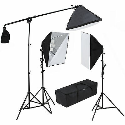3 Softbox Light Stand Photo Studio Photography Continuous Lighting Kit 2400W