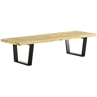 Awe Inspiring 48 George Nelson Wood Slat Bench Natural Black Dark Gmtry Best Dining Table And Chair Ideas Images Gmtryco