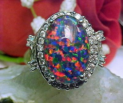 Gilson Lab Created Black Opal Triplet Ring Large 16X12mm & White Topaz 925 SS