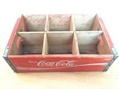 Vintage 1976 Red White WoodCoca Cola Crate W/ 6 Dividers Metal Trim Chattanooga